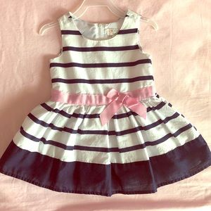 1989 Place Navy Blue & White Stripped Dress